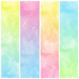 套五颜六色的抽象水彩艺术油漆 免版税库存图片