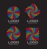 套五颜六色的明亮的彩虹螺旋商标 库存照片
