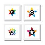 套五颜六色的星商标设计-导航象 图库摄影