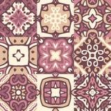 套五颜六色的有装饰摩洛哥动机的葡萄酒陶瓷砖 向量例证