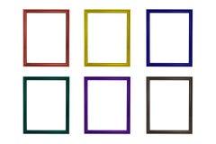 套五颜六色的木制框架 免版税图库摄影