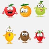套五颜六色的果子字符 库存例证