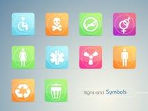 套五颜六色的标志和标志 免版税库存图片