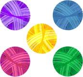 套五颜六色的毛线球 皇族释放例证