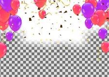 套五颜六色的气球、多彩多姿的信号旗和五彩纸屑 库存例证