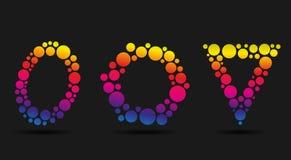 套五颜六色的泡影商标 库存照片