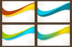 套五颜六色的波浪模板,横幅 图库摄影