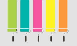 5套五颜六色的漆滚筒刷子 RGB传染媒介例证 图库摄影