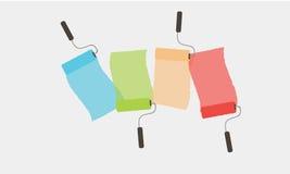 5套五颜六色的漆滚筒刷子 RGB传染媒介例证 免版税图库摄影