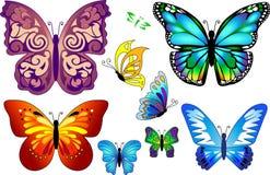 套五颜六色的现实被隔绝的蝴蝶。 免版税库存图片