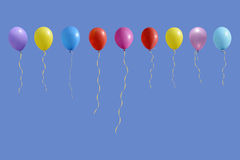 套五颜六色的生日或党气球 免版税库存照片