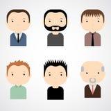 套五颜六色的男性面对象 时髦平的样式 滑稽的漫画人物 免版税库存图片
