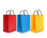 套五颜六色的空的购物袋 也corel凹道例证向量 库存照片
