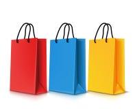 套五颜六色的空的购物袋 也corel凹道例证向量 库存图片