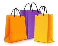 套五颜六色的空的购物袋 也corel凹道例证向量 图库摄影