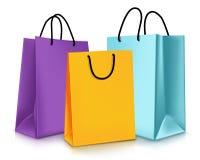 套五颜六色的空的购物袋 也corel凹道例证向量 免版税库存照片