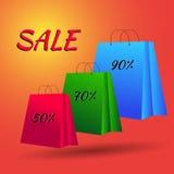 套五颜六色的空的购物袋 例证EPS 10 免版税库存照片