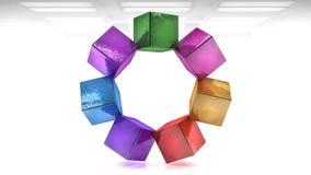 套五颜六色的立方体3D 免版税库存图片