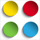 套五颜六色的纸圈子贴纸按钮 库存图片