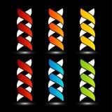 套五颜六色的脱氧核糖核酸商标 免版税库存图片