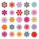套五颜六色的花图标 图库摄影