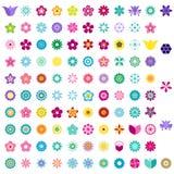 套五颜六色的花图标 库存照片