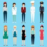 套五颜六色的行业妇女平的样式 免版税库存照片