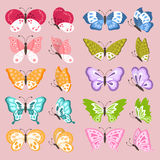 套五颜六色的逗人喜爱的蝴蝶 库存照片