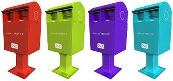 套五颜六色的邮件箱子 免版税库存图片