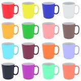 套五颜六色的陶瓷杯子 库存照片
