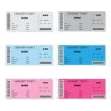 套五颜六色的音乐会票 库存照片