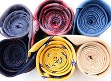 套五颜六色的领带特写镜头 免版税库存图片
