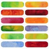 套五颜六色的水彩横幅。 免版税库存图片