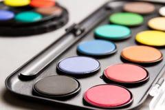 套五颜六色的水彩 免版税图库摄影