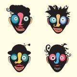 套五颜六色的滑稽的小丑面孔 库存图片