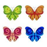 套五颜六色的蝴蝶。 库存图片