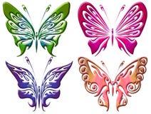 套五颜六色的蝴蝶背景 库存图片