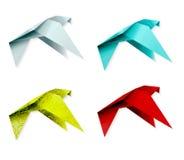 套五颜六色的origami鸟。EPS 10 图库摄影