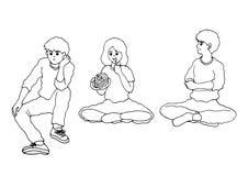 套亚裔少年男孩和女孩坐的活动,传染媒介 免版税图库摄影