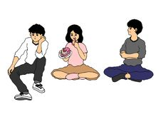 套亚裔少年男孩和女孩坐的活动,传染媒介 免版税库存图片