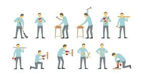 套人是不同工作繁忙的与钻子 锤击与钉子 锯树 工作者杂物工队  向量例证
