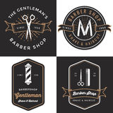 套人的理发店商标,徽章,标签,在葡萄酒样式的标记设计 刮脸和理发横幅 图库摄影