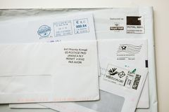 套从世界的iIternational信封 库存照片