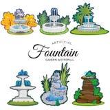 套从事园艺的户外喷泉 库存例证