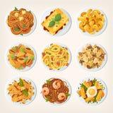 套从亚洲街道的新鲜的可口快餐 品种  皇族释放例证