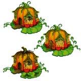 套从南瓜做的童话房子 在白色背景隔绝的幻想森林居民的家 向量 库存例证