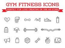 套传染媒介健身有氧运动健身房元素和健身象例证可以使用作为商标或象进入优质质量 免版税库存照片