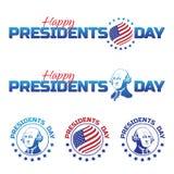套传染媒介元素或商标对愉快的总统Day -全国美国假日 在白色backgro隔绝的传染媒介例证 免版税图库摄影