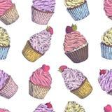 套传染媒介手拉的杯形蛋糕 明信片的模板,网络设计,菜单,盖子,广告,包装,打印 皇族释放例证