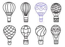 套传染媒介概述热空气气球 免版税库存图片